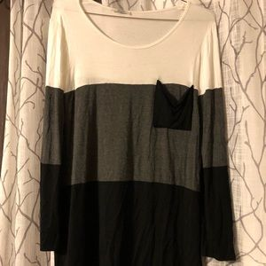Tops - White grey and black long sleeve dressy top